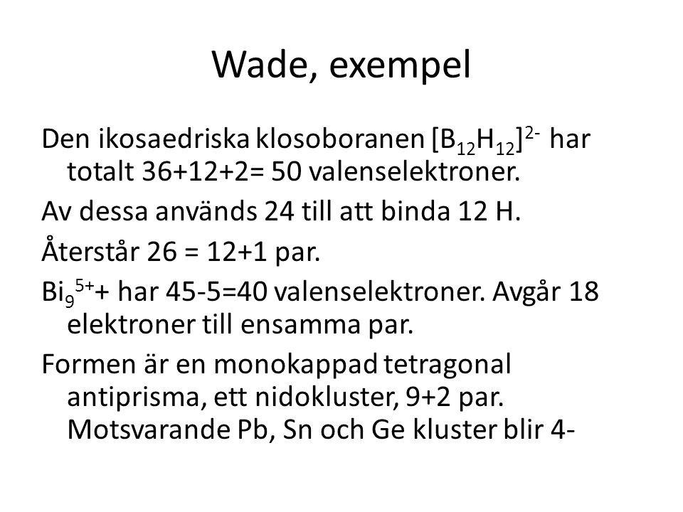 Wade, exempel Den ikosaedriska klosoboranen [B12H12]2- har totalt 36+12+2= 50 valenselektroner. Av dessa används 24 till att binda 12 H.